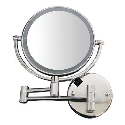 8 in. x 17-1/4 in. Round Framed Wall Mounted Led Mirror in Polished Chrome with 7X Magnification