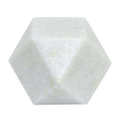 3 in. White Marble Geometric Decoration