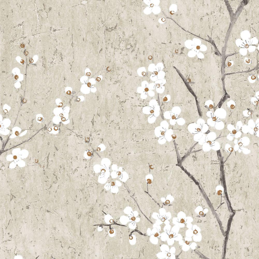 Graham Brown Kyoto Sakura Pale Gold Wallpaper 102957 The Home Depot