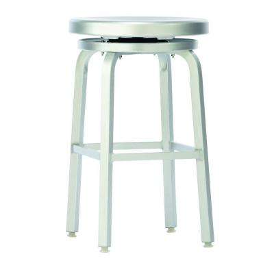 Melanie 24 in. Brushed Aluminum Swivel Bar Stool