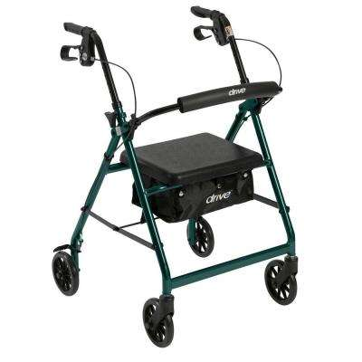 4-Wheel Rollator Walker with Removable Folding Back Support and Padded Seat in Green