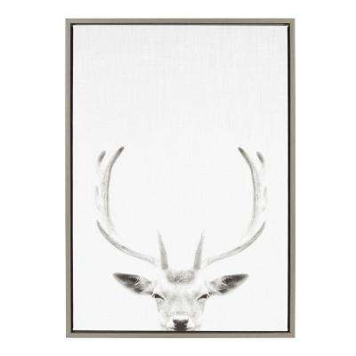 """33 in. x 23 in. """"Female Deer"""" by Tai Prints Framed Canvas Wall Art"""