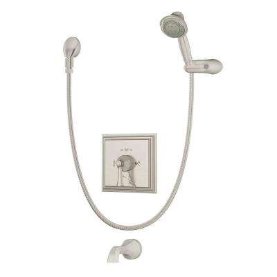 Canterbury 1-Handle with Integrated Diverter Tub and Shower Faucet Trim Kit in Satin Nickel (Valve Not Included)