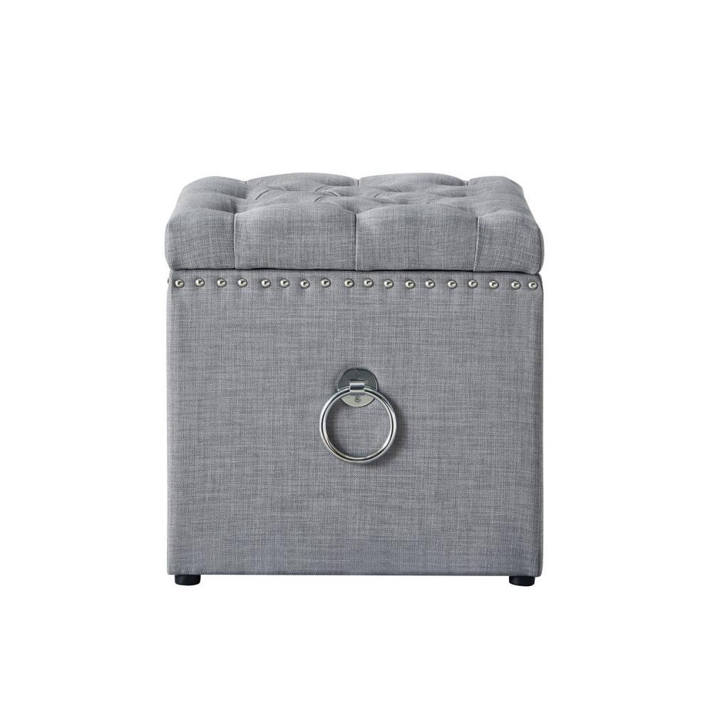 Superb Inspired Home Micella Light Grey Chrome Linen Nailhead Trim Evergreenethics Interior Chair Design Evergreenethicsorg