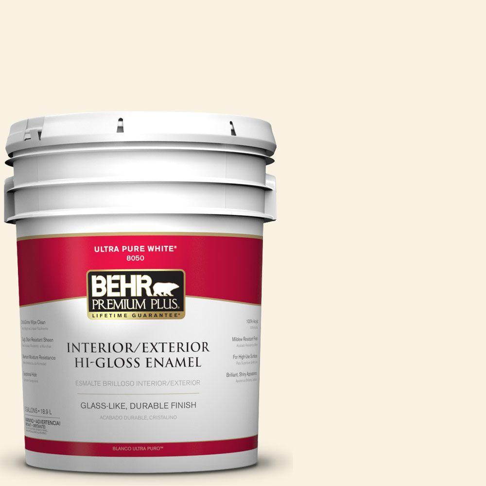 BEHR Premium Plus 5-gal. #bwc-03 Lively White Hi-Gloss Enamel Interior/Exterior Paint