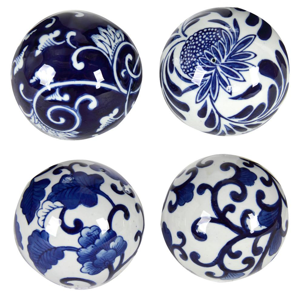 4 in. Ball Decorative Sculpture (4-Pack)