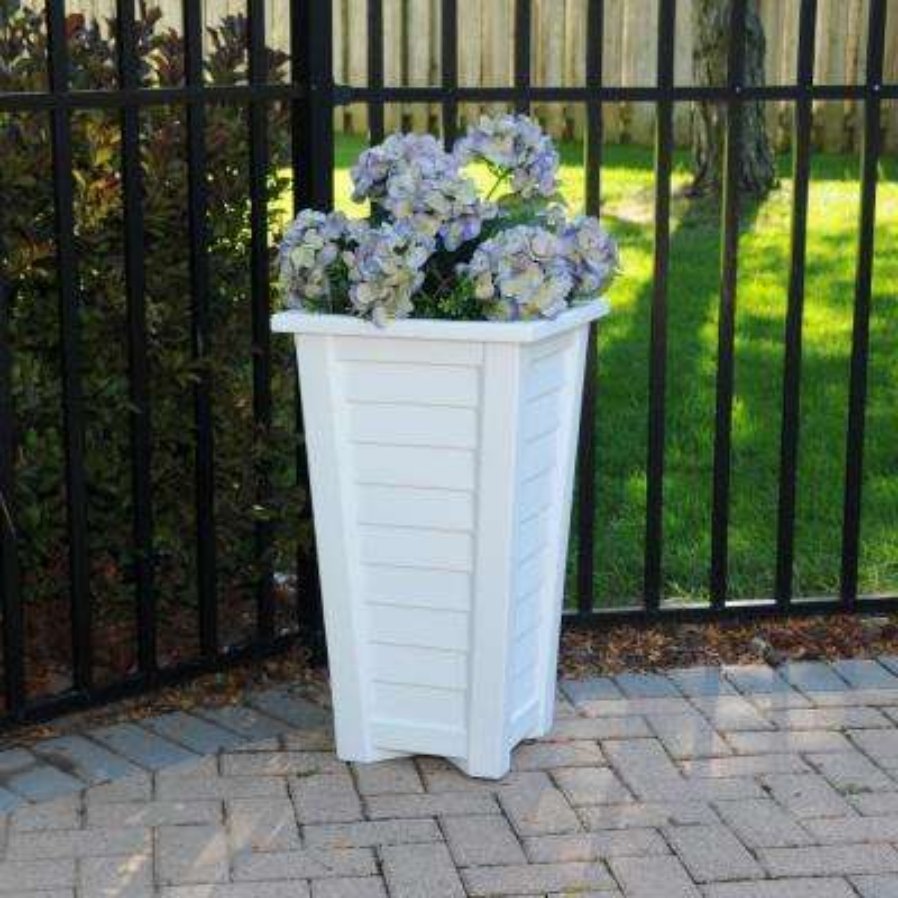 Self-Watering Lakeland 28 in. White Polyethylene Patio Planter