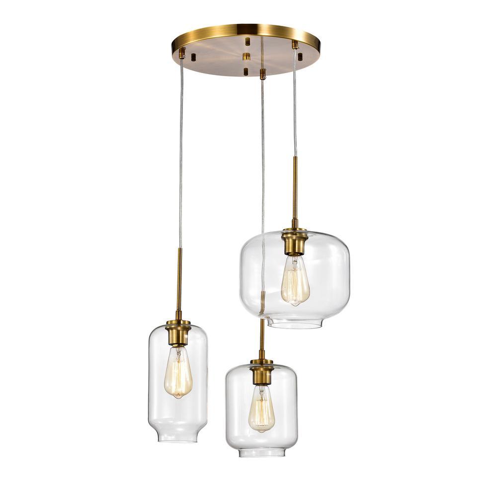 Ole Satin Gold 3-Light Metal Glass Chandelier