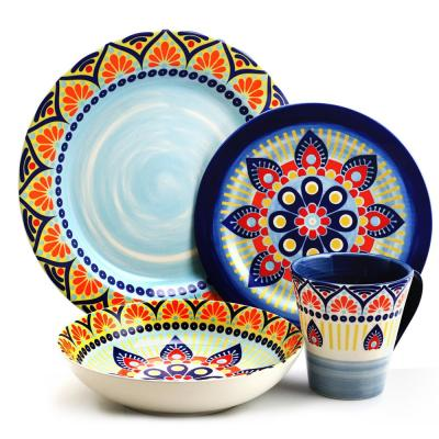 Zen Blue Mozaik 16-Piece Stoneware Dinnerware Set (Service for 4)