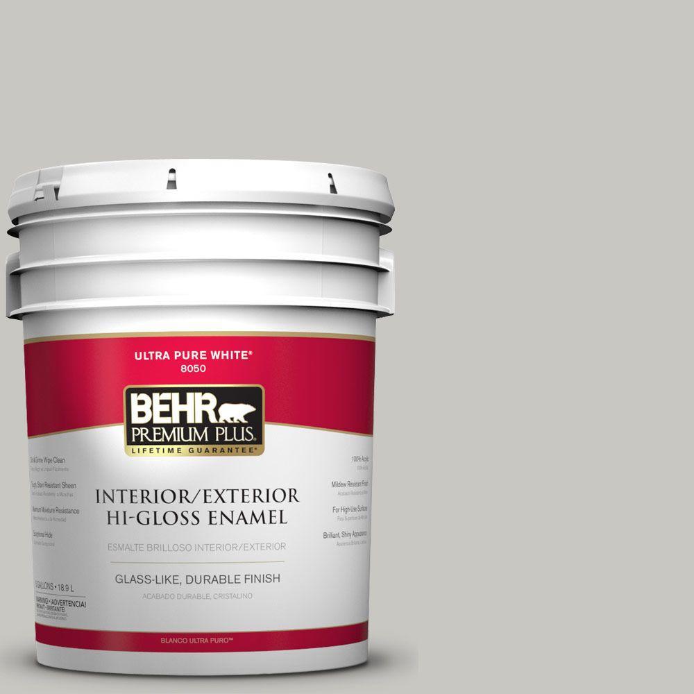 BEHR Premium Plus 5-gal. #N360-2 Silver Marlin Hi-Gloss Enamel ...