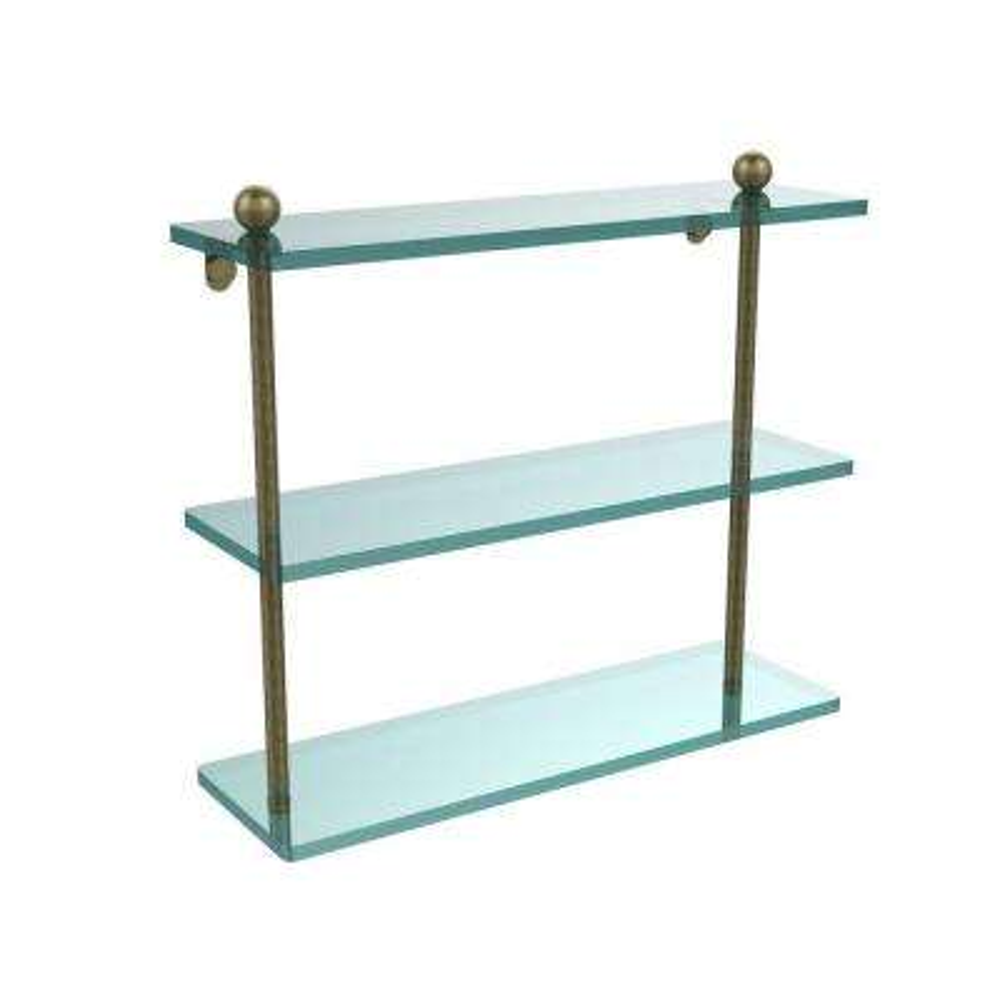 16 in. L x 15 in. H x 5 in. W 3-Tier Clear Glass Bathroom Shelf in Antique Brass