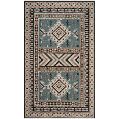 Classic Vintage Slate/Beige 6 ft. 7 in. x 9 ft. 2 in. Area Rug