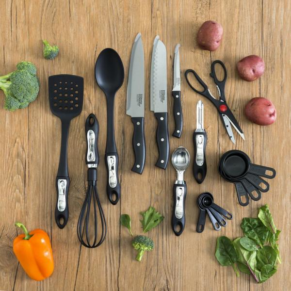 Deluxe Stainless Steel Black Kitchen Tool Set (17-Piece)