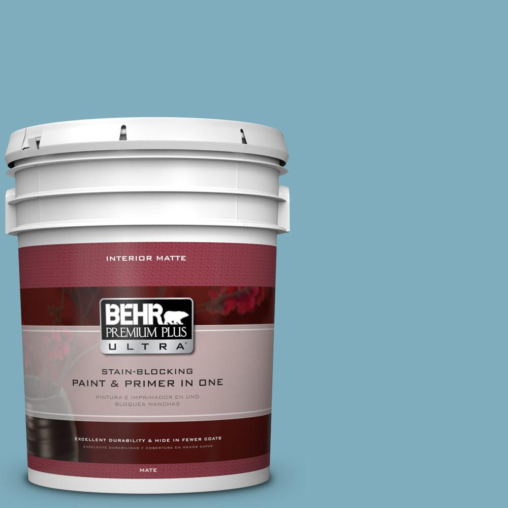 5 gal. #PMD-83 Porcelain Blue Matte Interior Paint and Primer in