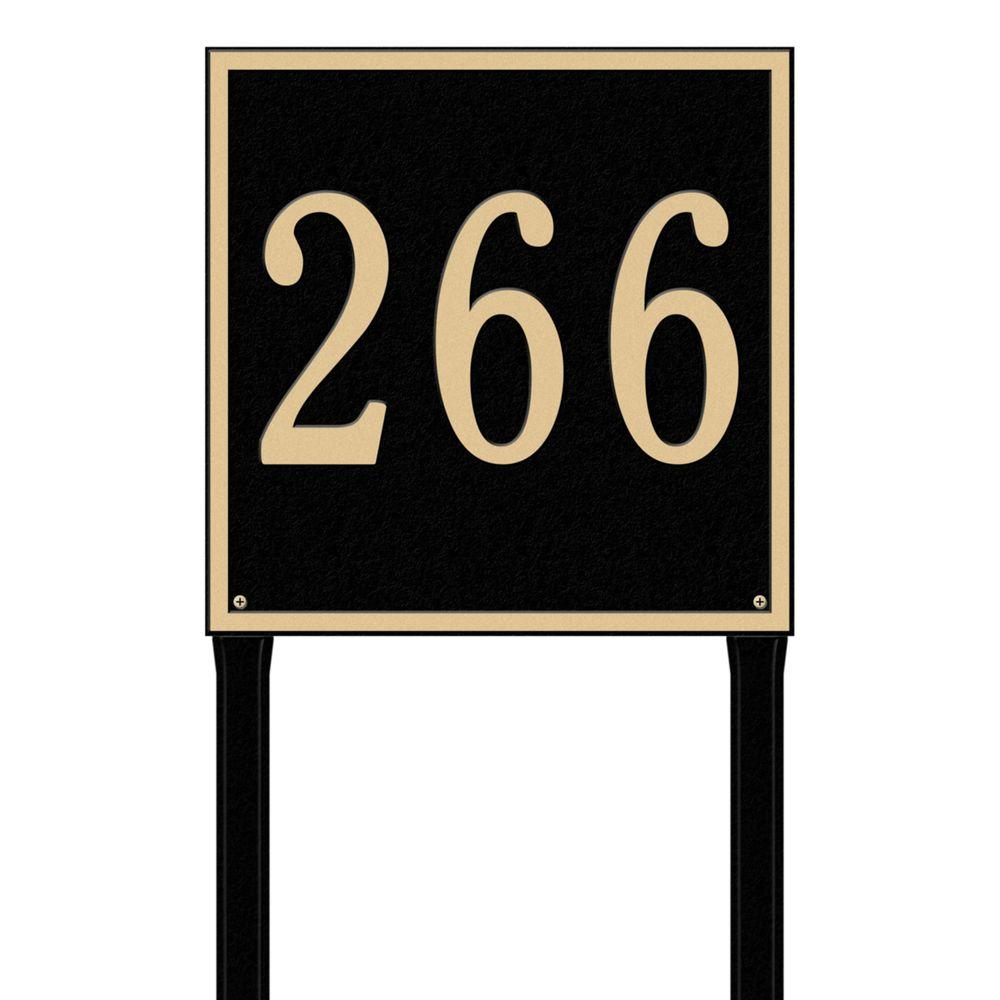 Whitehall Products Square Estate Lawn 1-Line Address Plaque - Black/Gold