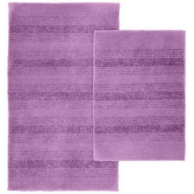 Essence Purple 21 in. x 34 in. Washable Bathroom 2-Piece Rug Set