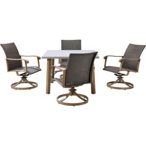 Hanover Hermosa 5-Piece All-Weather Wicker Square Patio Dining Set by Hanover
