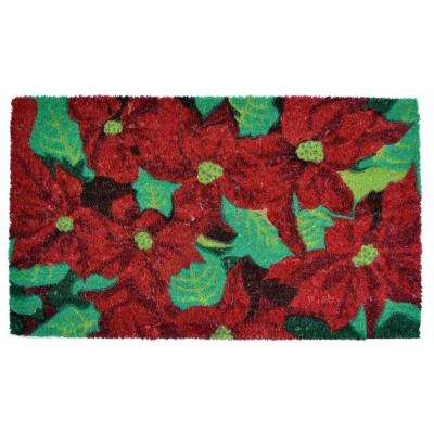 PVC Backed Coir Mat, Poinsettia, 30 in. x 18 in. Natural Coconut Husk Door Mat