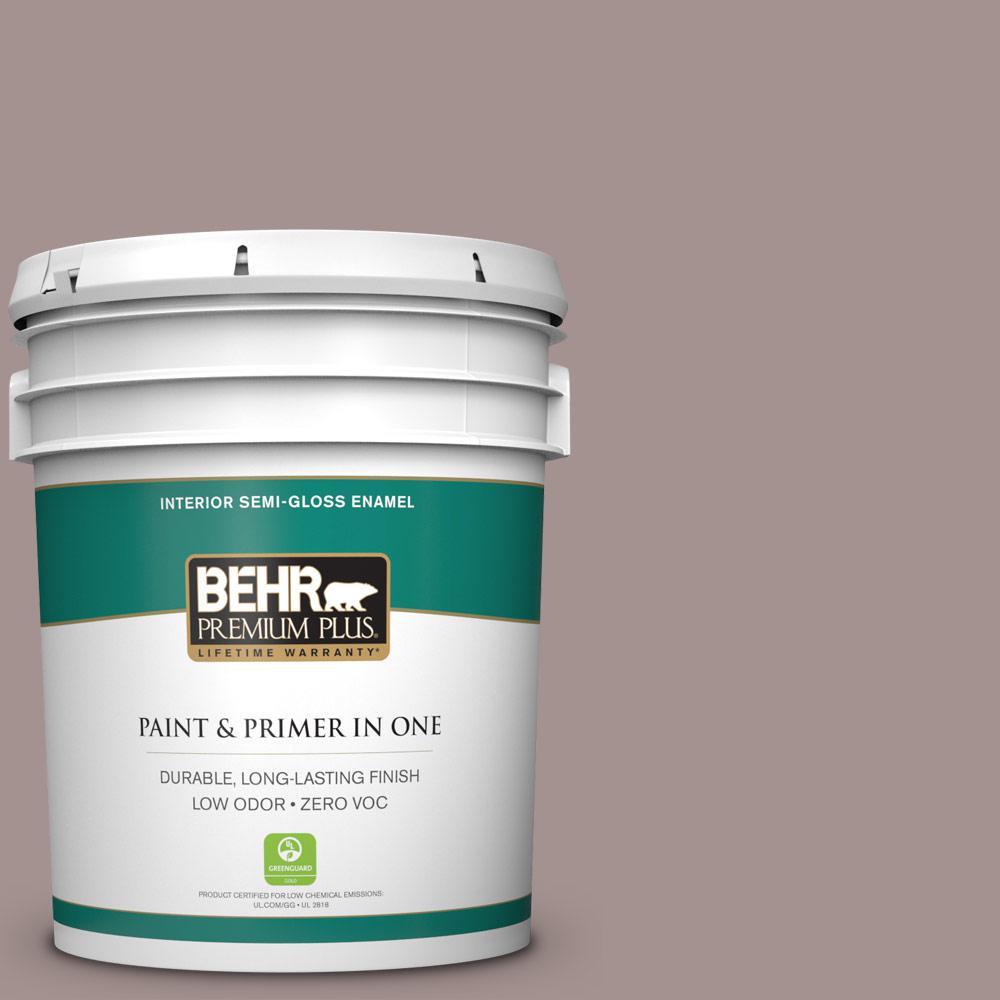 BEHR Premium Plus 5-gal. #740B-4 Suede Leather Zero VOC Semi-Gloss Enamel Interior Paint