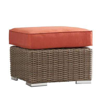 Camari Mocha Wicker Outdoor Ottoman with Red Cushion