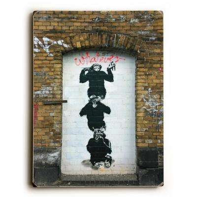 "9 in. x 12 in. ""Monkey business"" by Banksy Solid Wood Wall Art"