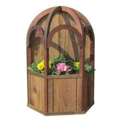 14-1/2 in. x 21 in. Brown, Wood Freestanding Wall Mount Gazebo Planter with Dome Roof