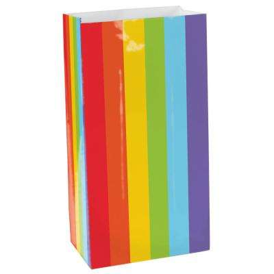 6.5 in. x 3in. Rainbow Mini Paper Bags (12-Count, 9-Pack)