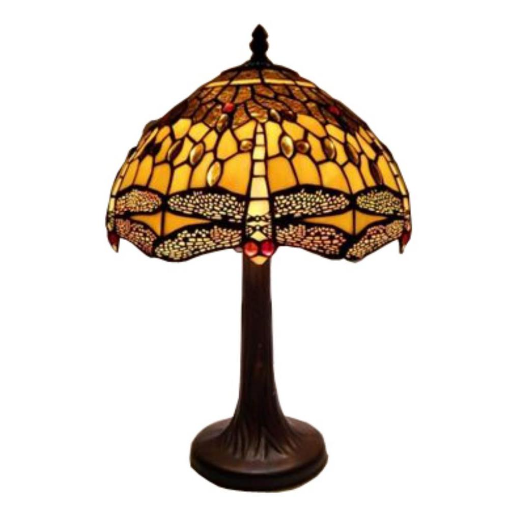 Warehouse Of Tiffany 18 In Amber Dragonfly Brown Table Lamp