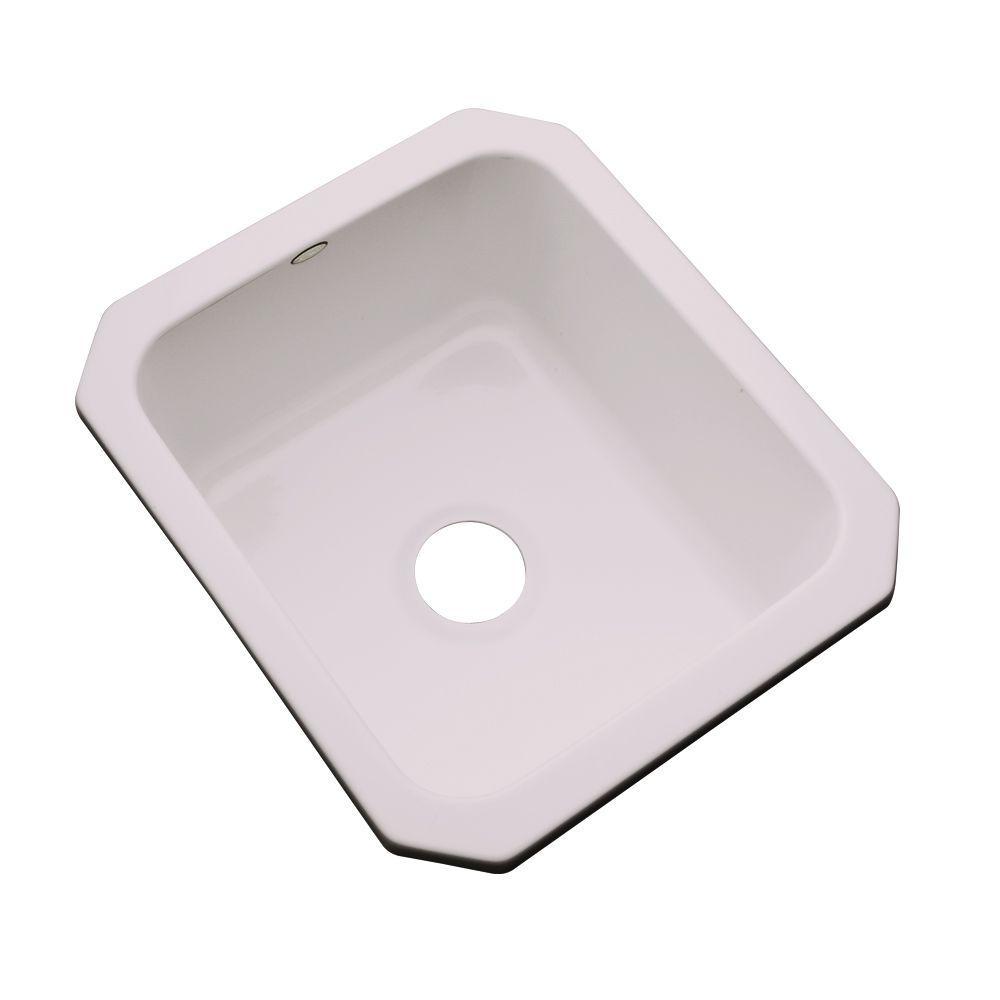 Thermocast Crisfield Undermount Acrylic 17 in. Single Basin Entertainment Sink in Innocent Blush