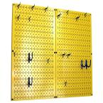 Wall Control Kitchen Pegboard 32 in. x 32 in. Metal Peg Board Pantry Organizer Kitchen Pot Rack Yellow Pegboard and Blue Peg Hooks