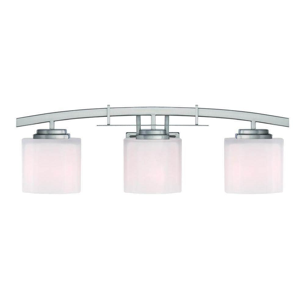 Hampton Bay Architecture 3-Light Brushed Nickel Vanity Light with Etched  White Glass Shades