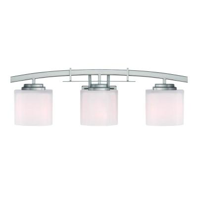 Architecture 3-Light Brushed Nickel Vanity Light with Etched White Glass Shades