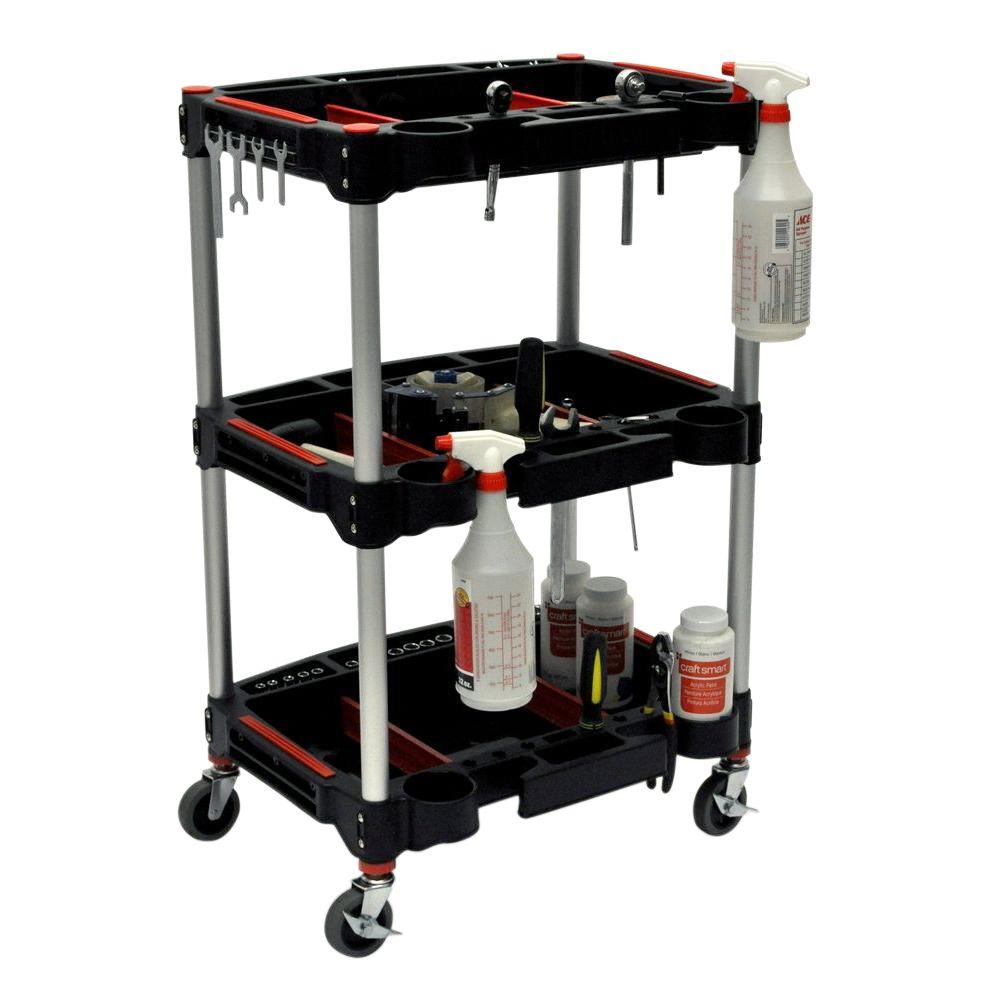 Luxor 22.75 in. W x 18 in. D x 32 in. H Multipurpose Utility Cart, Black/Red