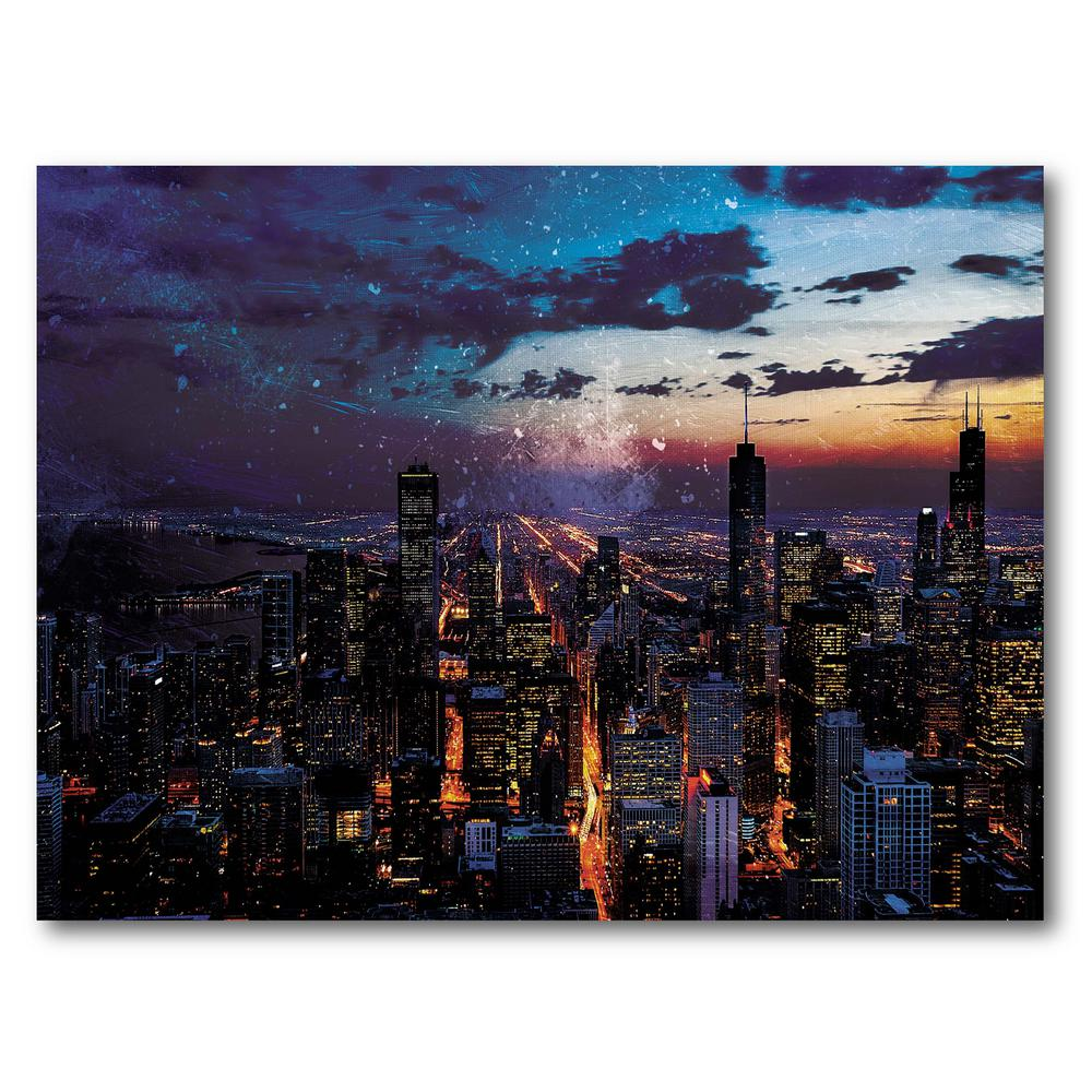 Courtside Market Chicago Skyline Gallery-Wrapped Canvas Nature Wall Art 20 in. x 16 in., Multi Color was $70.0 now $38.93 (44.0% off)