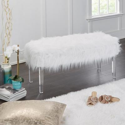 Vanessa White Fur Storage Bench