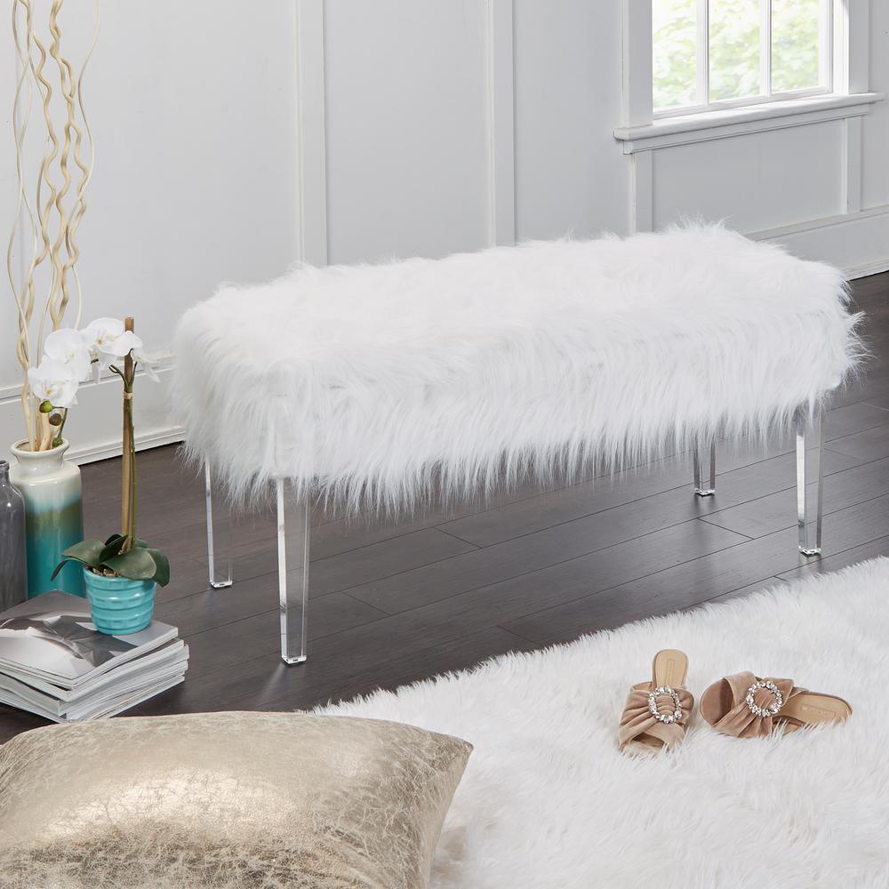 Vanessa White Fur Storage Bench