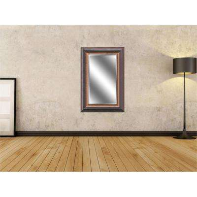 Reflection 24 in. x 36 in. Bevel Style Framed Silver Wood Finish Mirror