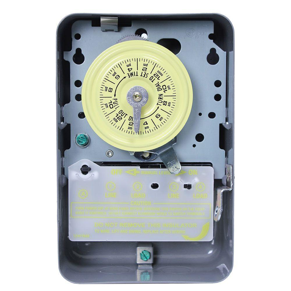 T105 Series 40-Amp 24-Hour Mechanical Time Switch with Indoor Steel Enclosure