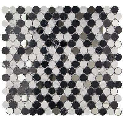Mirage Penny Round Black and White Marble and Glass Wall Mosaic Tile - 3 in. x 6 in. Tile Sample