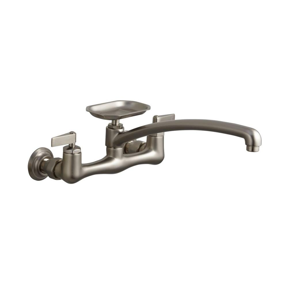 KOHLER Clearwater Wall-Mount 2-Handle Kitchen Faucet in Vibrant Brushed Nickel with Soap Dish-DISCONTINUED