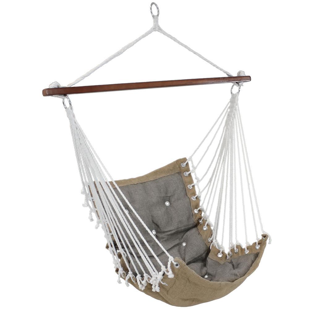Fabric Tufted Victorian Hammock Swing In Gray