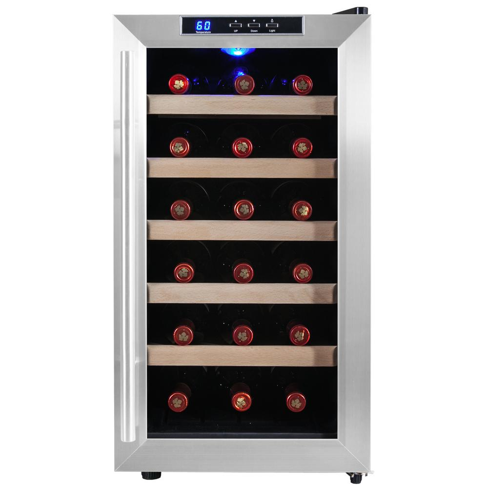 akdy 18bottle single zone wine cooler in stainless steel with wooden shelves