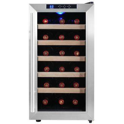18-Bottle Single Zone Thermoelectric Wine Cooler in Stainless Steel with Wooden Shelves