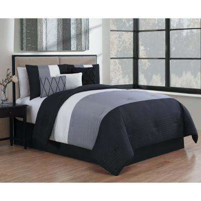 Manchester 7-Piece Black and Grey and White Queen Comforter Set