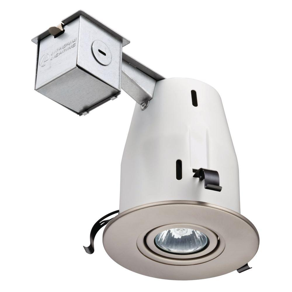 Lithonia Lighting 4 in. GU10 Nickel Recessed Gimbal Kit  sc 1 st  The Home Depot : home depot recessed lighting - azcodes.com
