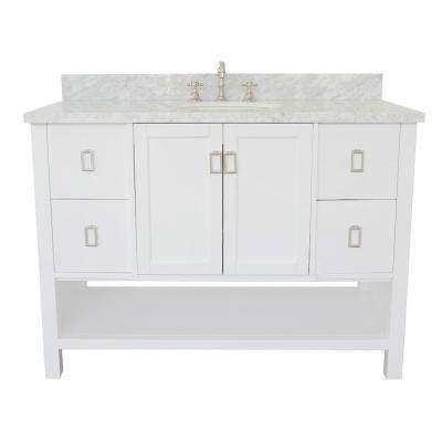 Monterey 49 in. W x 22 in. D Bath Vanity in White with Marble Vanity Top in White with White Oval Basin