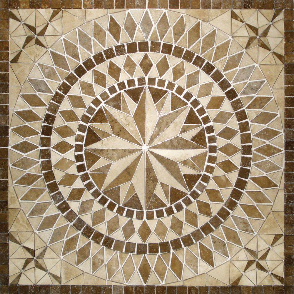 MSI Del Sol Medallion 36 in. x 36 in. Travertine Floor and Wall Tile ...