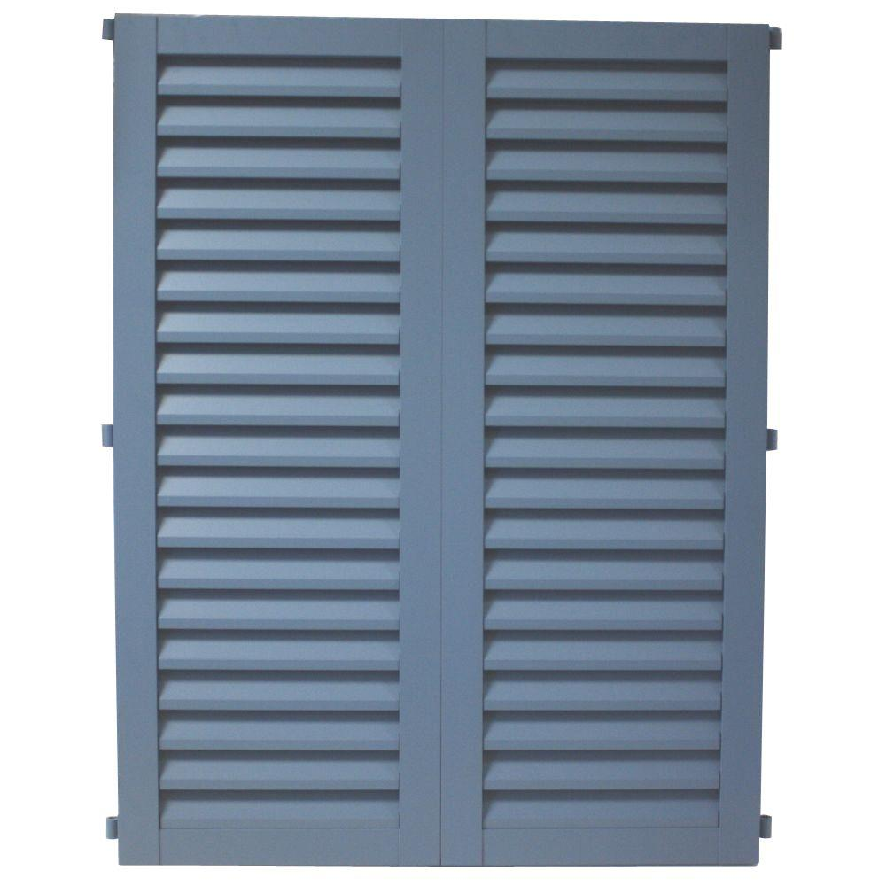 POMA 40 in. x 39.75 in. Light Blue Colonial Hurricane Louvered Shutters Pair
