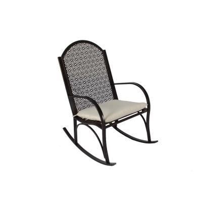 Garden Metal Outdoor Rocking Chair with Light Tan Cushion