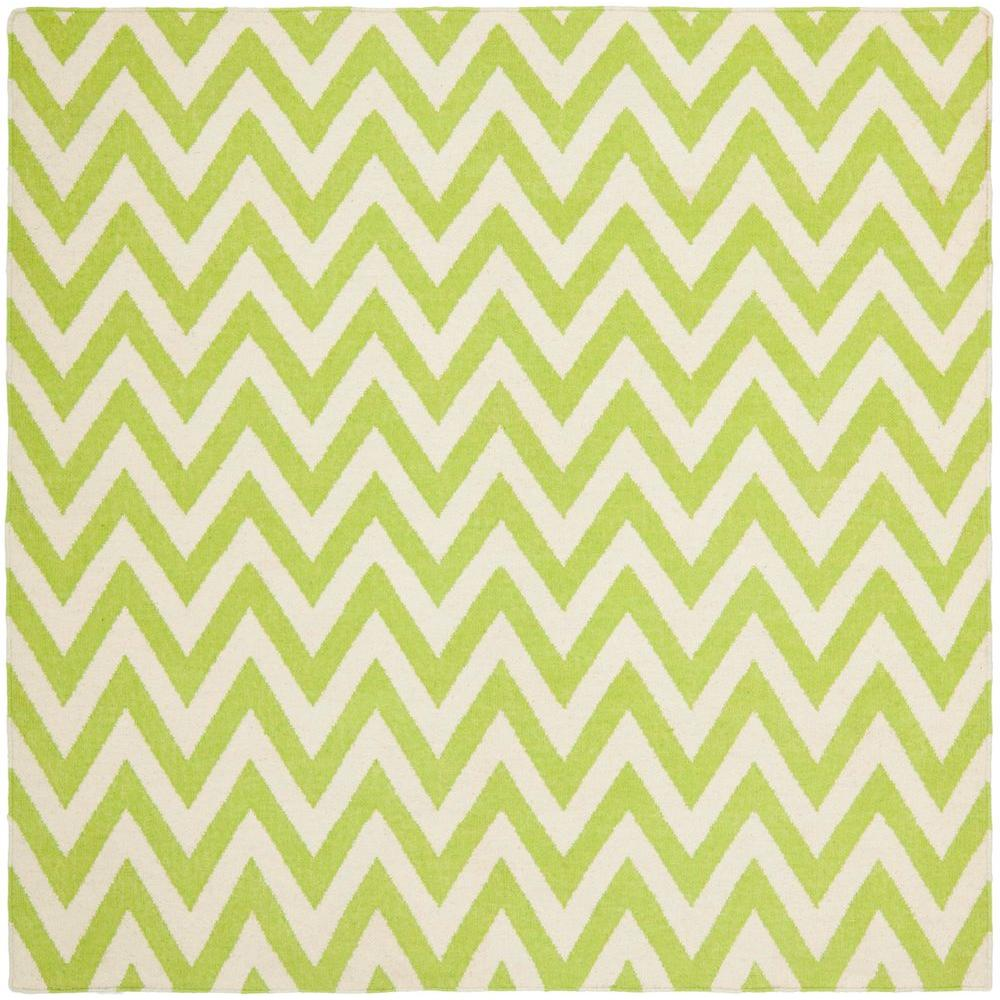 Dhurries Green/Ivory 8 ft. x 8 ft. Square Area Rug